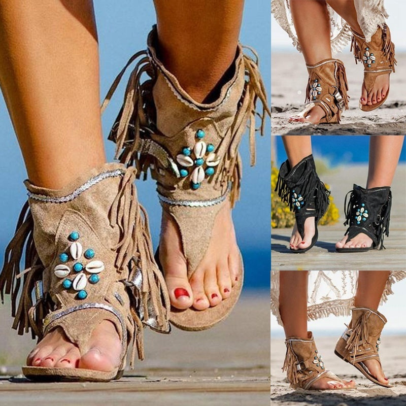 Foreign trade large size boots women 2020 fall slope heel clip toe fringed Roman lace shoes wish Amazon