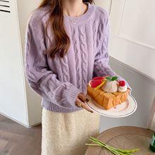 韩国chic秋气质淑女短款纯色复古麻花圆领长袖套头毛衣女针织上衣