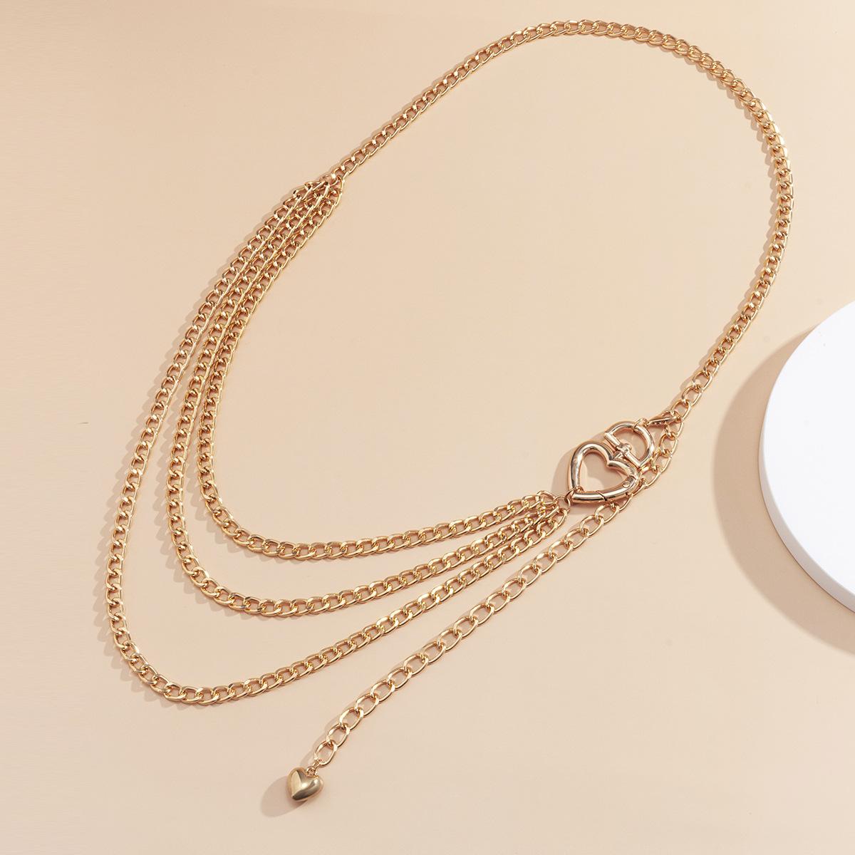 Fashion Gold Color Heart-shaped Hollow Aluminum Waist Chain