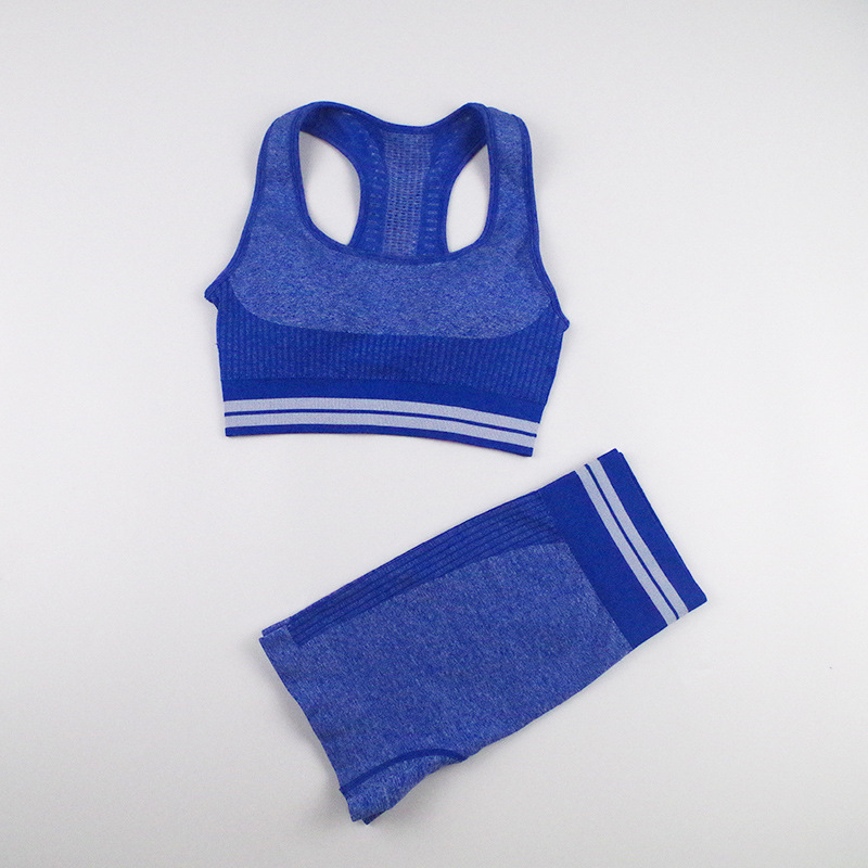 seamless knitted quick-drying hip-fitting tight stretch striped fitness four-piece suit  NSLX8988