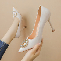 Han edition, 9333-018 fashion pointed shallow mouth high-heeled shoes fine suede with women's shoes show thin diamond sexy women's shoes