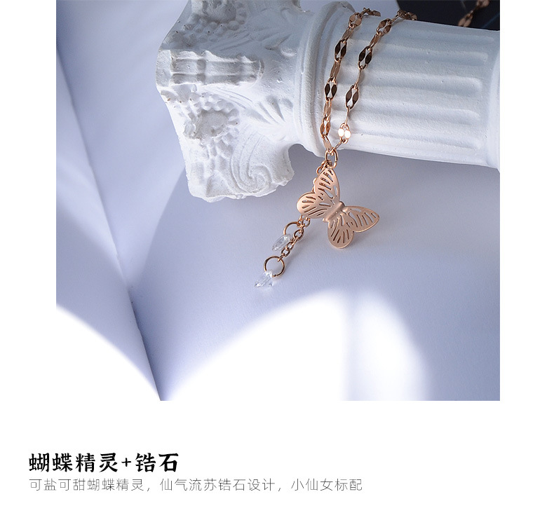 Niche artistic butterfly tassel titanium steel necklace clavicle chain NHOK258167