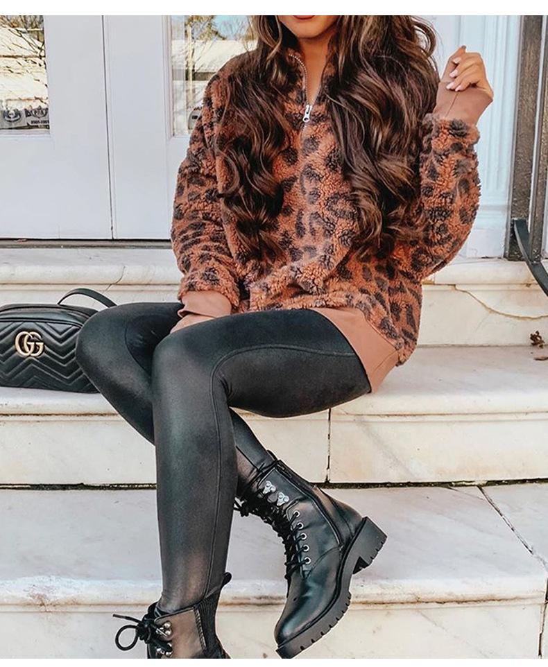 Long Sleeve Stand Collar Zipper Fall New Leopard Print Pullover Women's Sweater NSSI2485