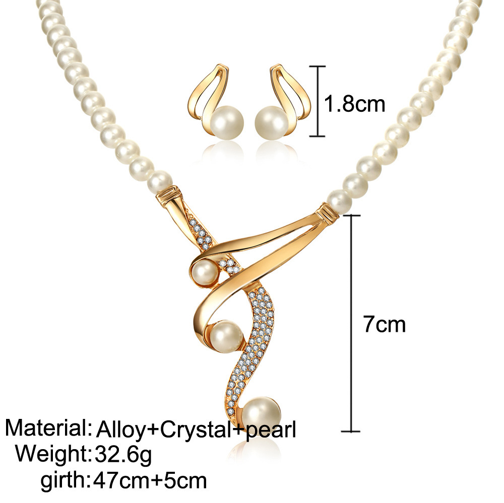 Curved Three Pearls Set 2piece Retro Wedding Bride Necklace and Earring Set wholesale nihaojewelry NHYI238449