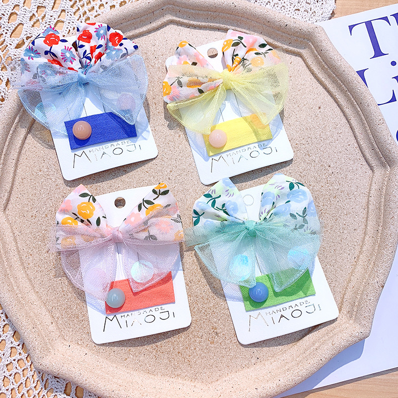 New large bow color mesh hairpin hair accessories candy color children's side clip girls hair accessories NHSA211363
