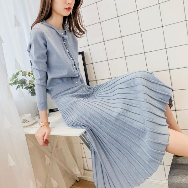秋季名媛针织套装女2020新款毛衣裙子两件套百褶裙淑女气质