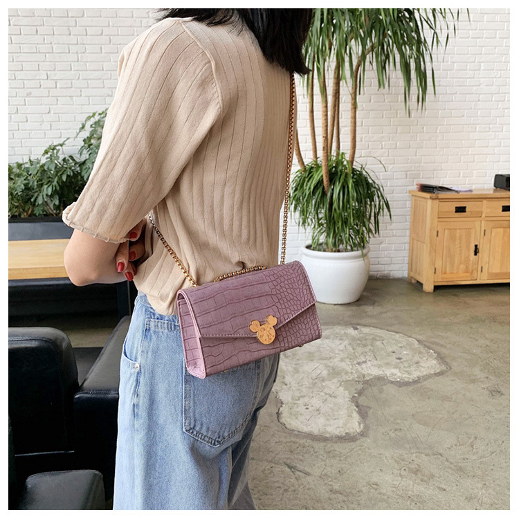 Simple wild crocodile pattern crossbody small square bag yiwu nihaojewelry wholesale new Korean retro cartoon chain shoulder bag NHPB210333
