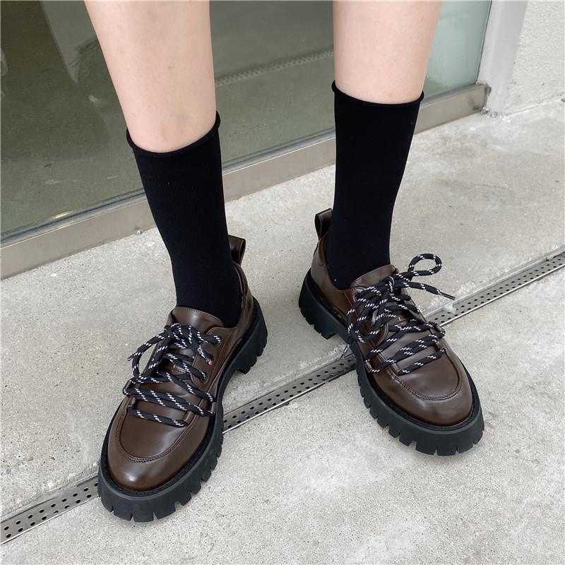 小皮鞋女英伦学院风复古配裙子真皮绿色厚底鞋女松糕底欧货乐福鞋