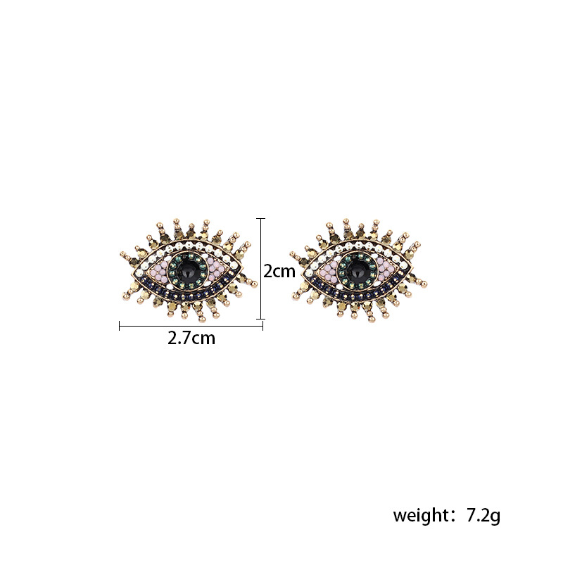 Fashion retro full diamond eye  demon eye earrings for women NHRN252778