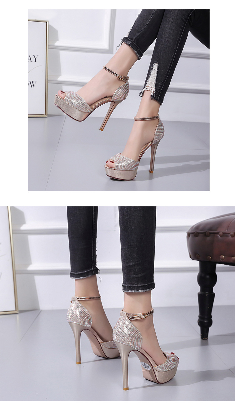 Spring new super-heeled sandals with fine platform sexy fish head women's shoes NHSO200262