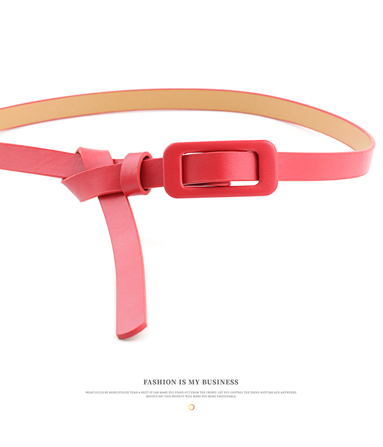 New solid color ladies light body pu small belt fashion square buckle needle-free decorative thin belt NHPO198259