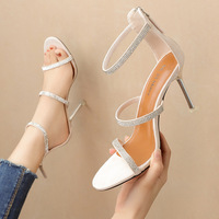 8090-8 han edition peep-toe web celebrity fashion high-heeled shoes with thin a word with the female sandals, sexy diamond banquet for women's shoes
