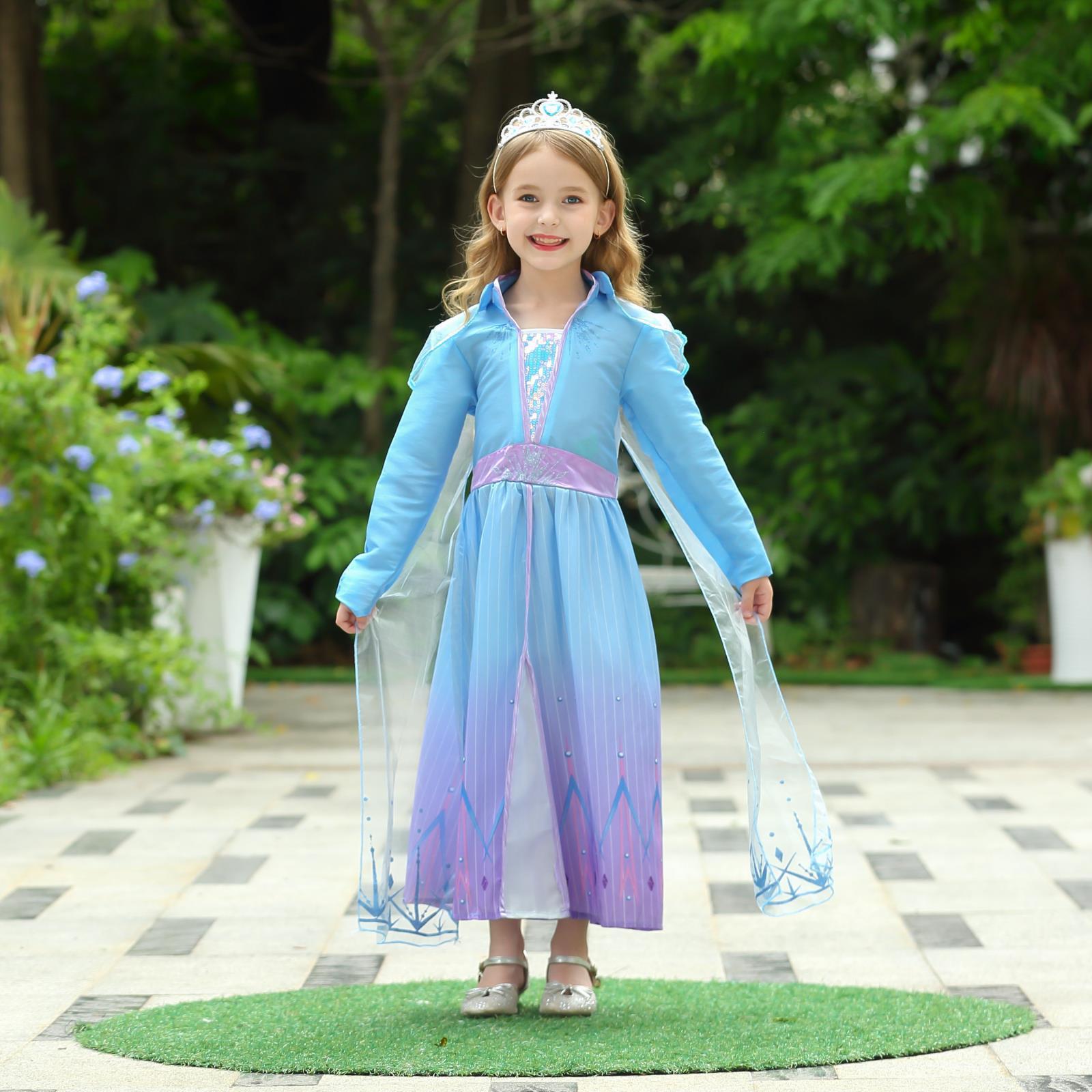 2020冰雪奇缘2外贸连衣裙生日表演裙六一洋气小裙子女童连衣裙