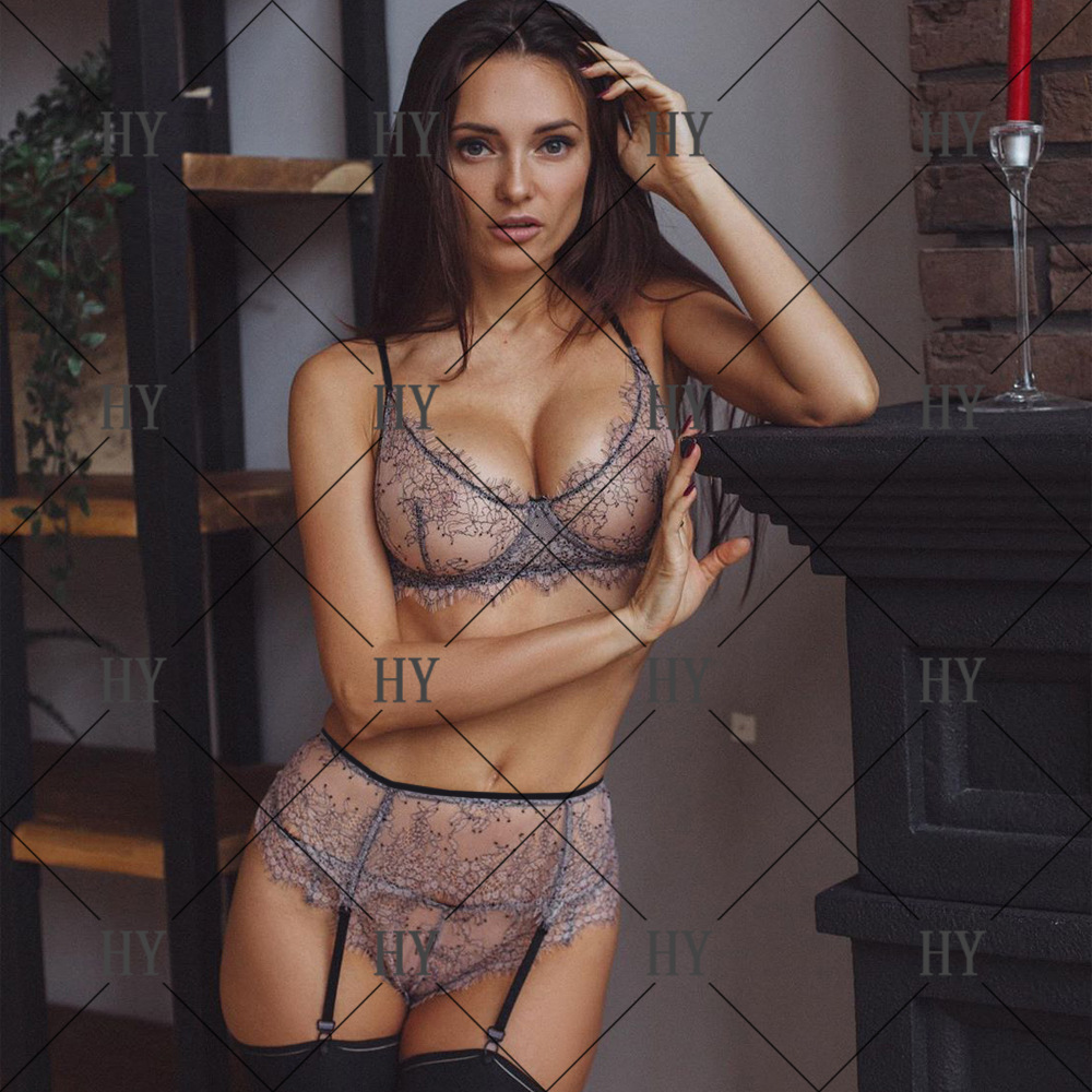 fashion new sexy  three-point  lace temptation underwear temptation sexy garter three-piece suit wholesale NHYO217639