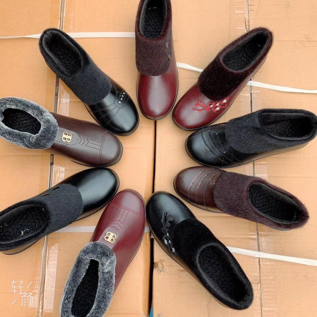 冬新款女士棉鞋中老年妈妈鞋加绒保暖棉皮鞋老人大棉女鞋地摊批发