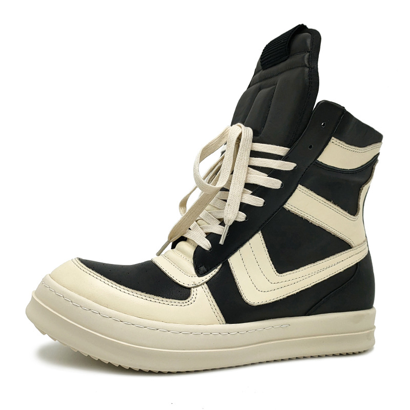 ro20潮男鞋真皮高帮鞋黑白大倒三角鞋白女鞋大码厚底系带欧美潮