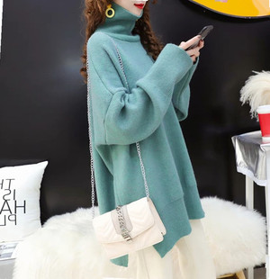 Autumn and winter clothing 2020 new Korean version thick mid-length lazy turtleneck sweater women loose all-match knitted bottoming shirt