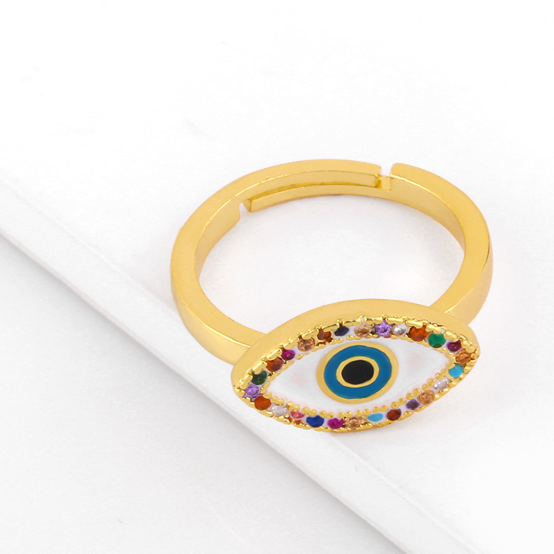 fashion new devil's eye ring open ring  inlaid color diamond drop oil copper  open ring  nihaojewelry wholesale NHAS222708