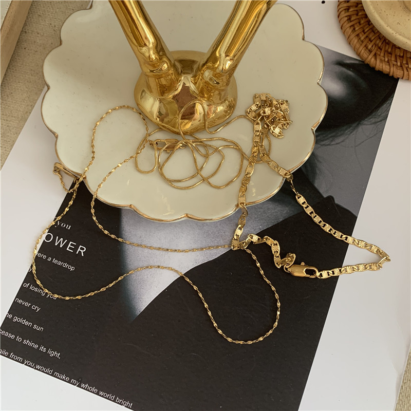 fashion hiphop style simple hollow multi-level retro wide clavicle chain necklace for women NHYQ249470