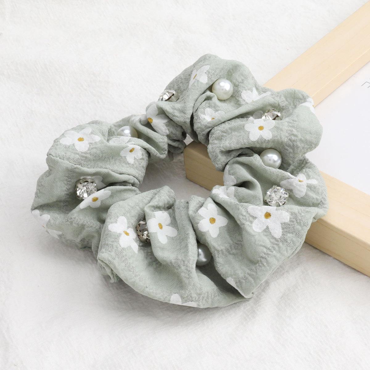 Vente chaude de la Core petite fleur blanche tissu imprim chouchous de cheveux perle incrusts de diamants en gros NHJE244479