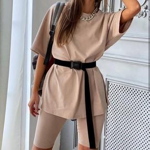 2020 новая весна и лето модель продажи женщины два рукава с поясом твердый домой свободный движение модный для досуга установите