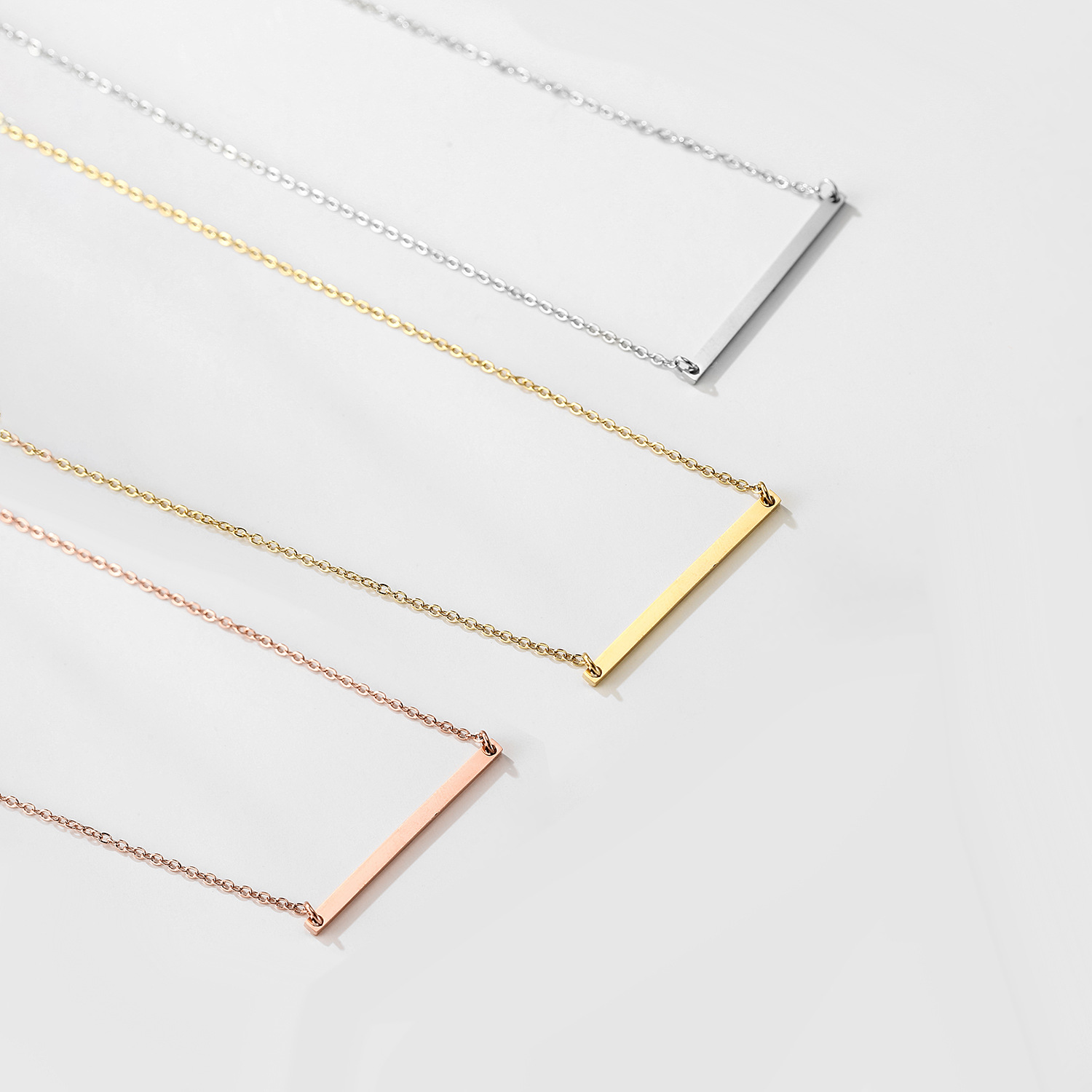 Necklace Geometric Round Brand Glossy Straight Necklace L316 Stainless Steel Three-piece Necklace Clavicle wholesale nihaojewelry NHJJ221053