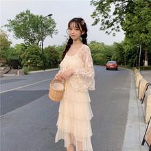 實拍實價控價28  甜美仙氣木耳花邊系帶蕾絲防曬開衫+吊帶連衣裙
