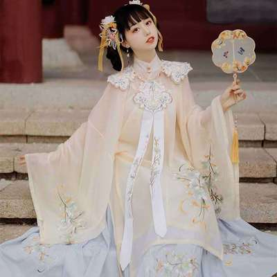 Ming Dynasty Hanfu adult embroidery waist elegant fairy skirt ancient double breasted stand collar long shirt big sleeve