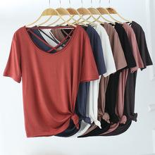 夏季新款露背莫代尔韩版修身圆领短袖T恤女士薄款纯色休闲打底衫