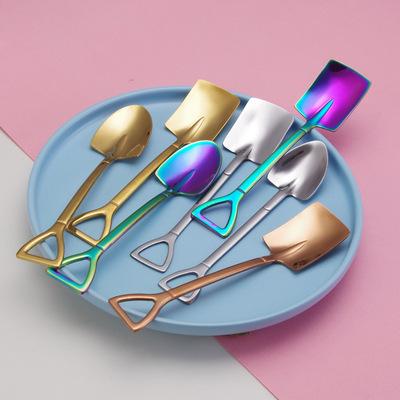 不锈钢甜品勺西瓜勺自力更生雪糕勺复古铁锹铲创意咖啡美食勺