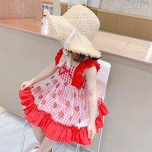夏女童红色闪闪草莓格裙女宝宝可爱甜美飞袖公主裙儿童连衣裙