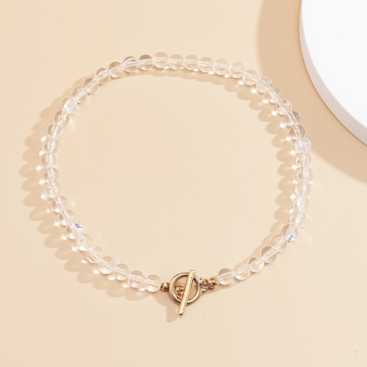 Fashion Gold Color Transparent Bead Ring Ot Buckle Necklace