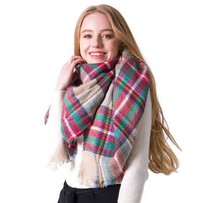 Colorful Plaid Scarf Cashmere camel Plaid Square Scarf Shawl