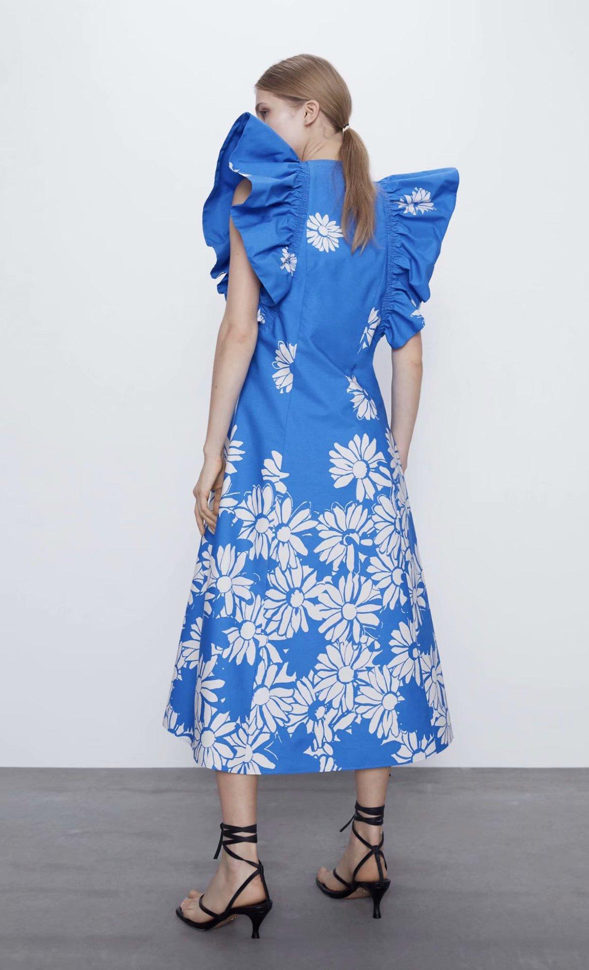 Fashion women's dress wholesale spring printed poplin small flying sleeve dress NHAM200126