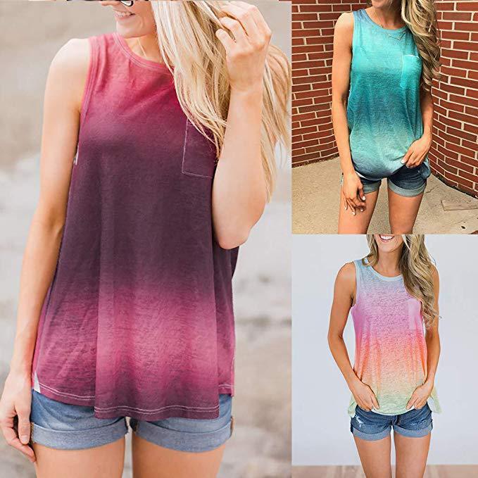 2020夏季女装亚马逊速卖通圆领无袖扎染印花渐变色背心T恤女y-117