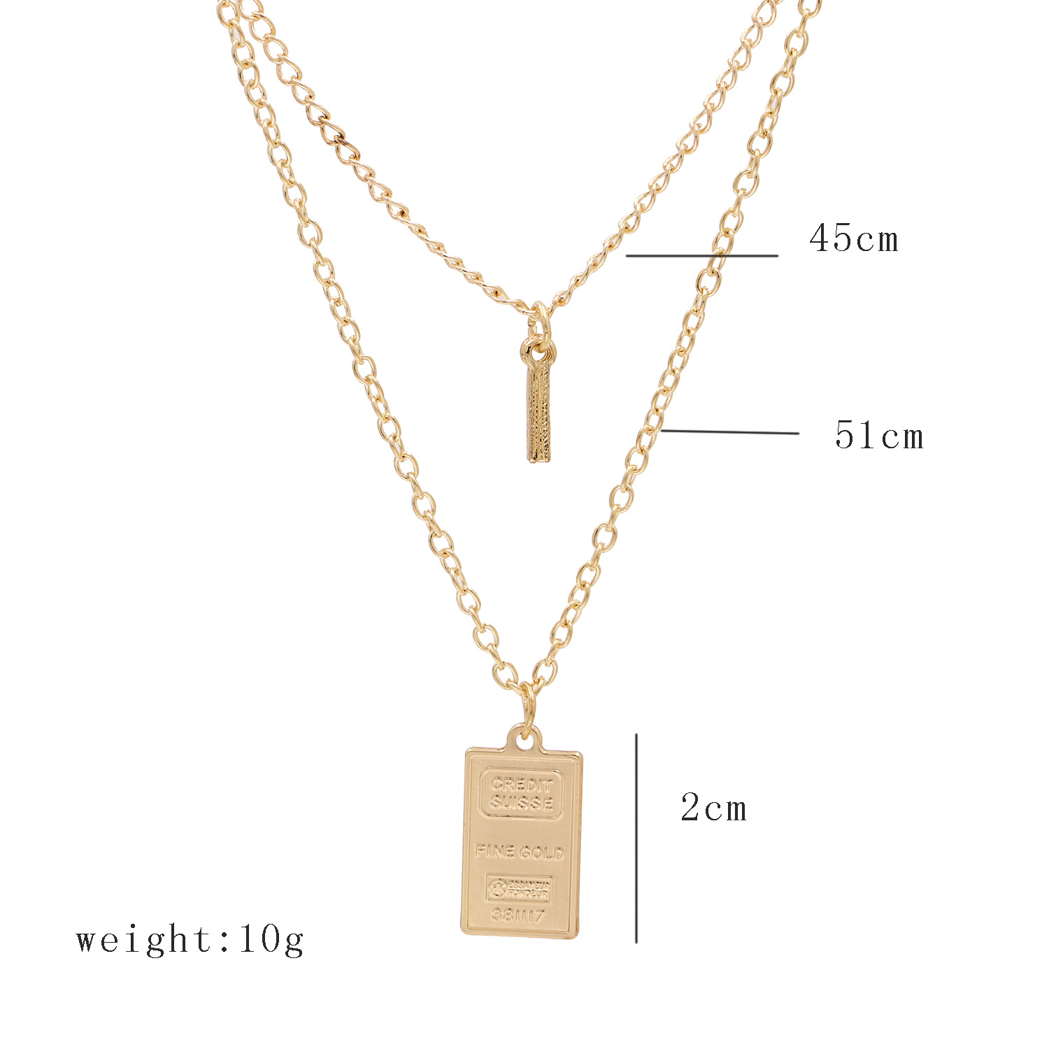 popular personality metal square brand necklace explosive double-layer wear alloy necklace wholesale nihaojewelry NHUI221106