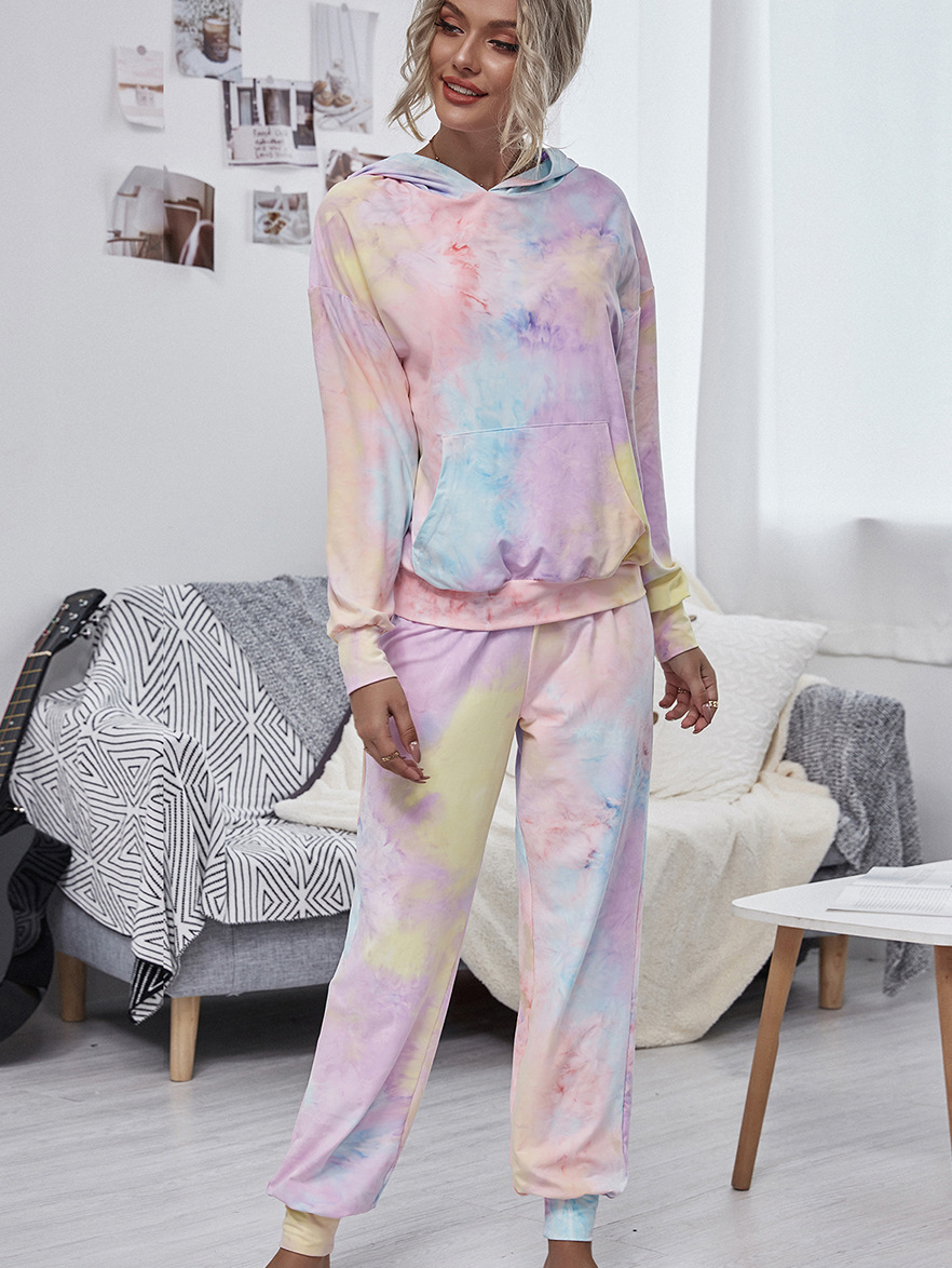 round neck dyed tie sweater long sleeve casual fashion trousers home fashion casual suit NSDF1290