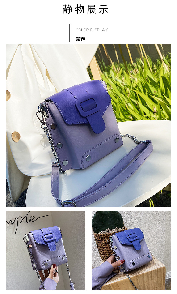 new tide summer chain crossbody bag color hit shoulder bag Korean fashion mobile phone bag  wholesale nihaojewelry NHPB220764