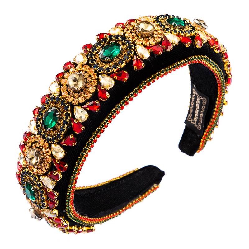 new fashion flash color rhinestone baroque style gold velvet broad-sided headband for women NHLN244494