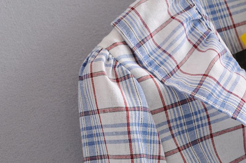 Fashion Wholesale ruffled contrast plaid shirt blouse NHAM201616