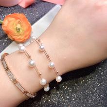 盛爆珠宝 天然淡水强光珍珠手链18K金肖邦双层手串满天星手饰女式