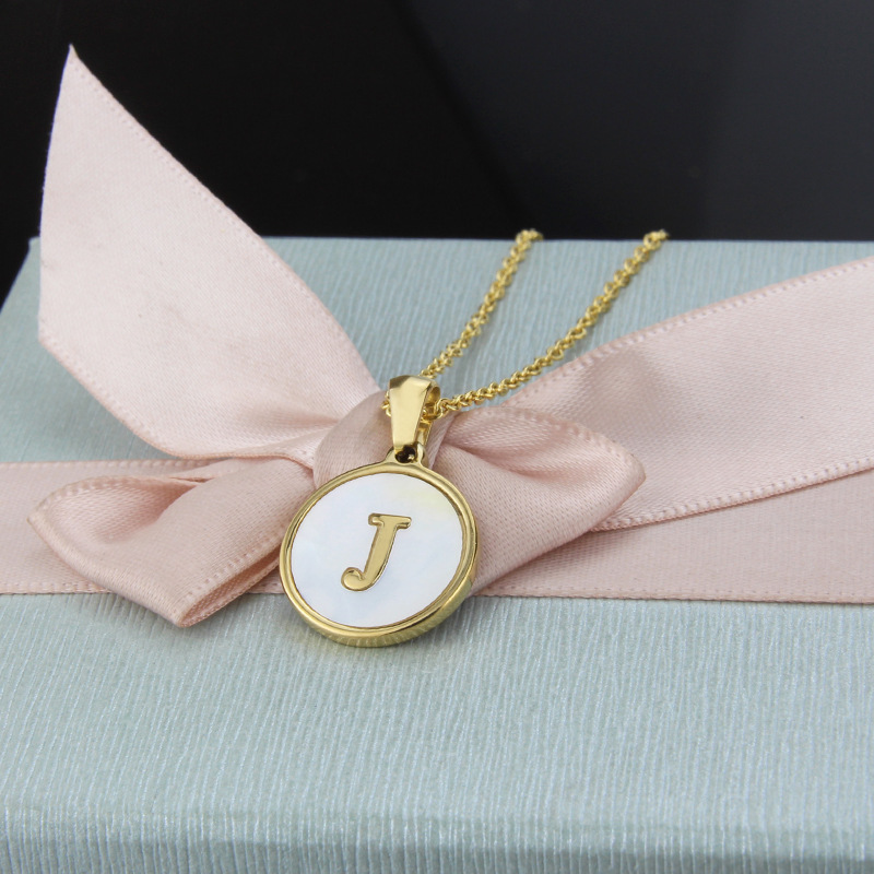Hot selling fashion stainless steel round shell 26 letter titanium steel pendant necklace  NHBP260775