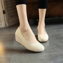 老北京布鞋绣花鞋亚麻高跟牛筋底纯黑白色护士鞋工作鞋女春秋单鞋