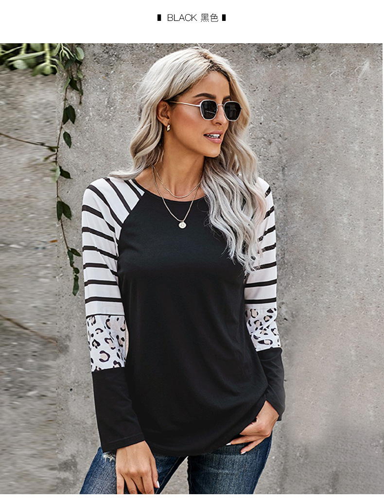 women new style striped stitching round neck pullover ladies sweater  NSSI2412