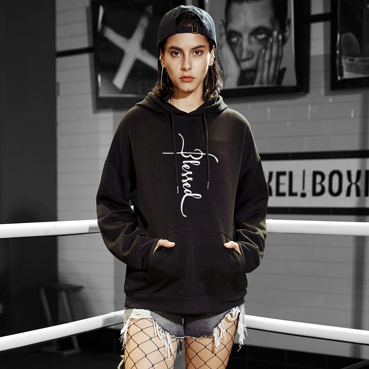 autumn and winter women's hooded sweater belief cross letters sweater NSSN4040