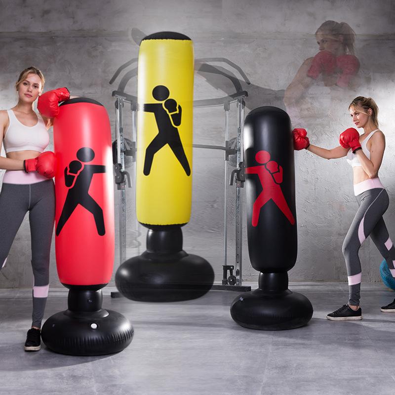 健身 兒童充氣立式拳擊柱不倒翁充氣沙袋泄憤玩具加厚1.6米高兒