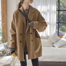 2020年秋冬季韩版新款小个子羊绒呢子宽松休闲大衣驼色毛呢外套女