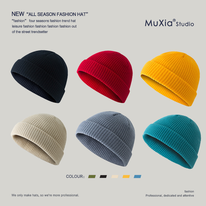 Hat Autumn and Winter Dome Keep Warm Short Woolen Head Melon Leather Hat Knitted Hat