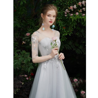 Evening dress Bridesmaid Dress grey long wedding party dress cocktail banquet dress