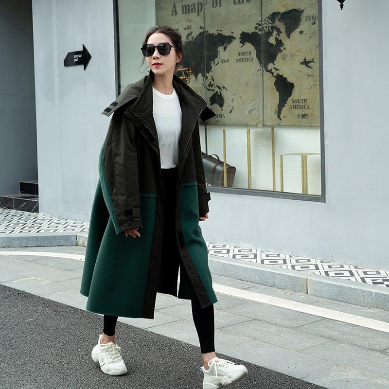 风衣女羊毛拼接双面尼大衣2020新款AAAA韩版女装时尚羊绒气质外套